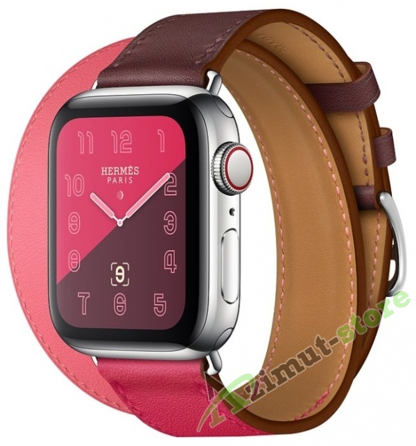Apple Watch Hermès Series 4 GPS + Cellular 40mm Stainless Steel Case with Leather Double Tour Bordeaux/Rose Extrême/Rose Azalée Swift