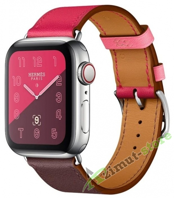 Apple Watch Hermès Series 4 GPS + Cellular 40mm Stainless Steel Case with Leather Single Tour Bordeaux/Rose Extrême/Rose Azalée Swift
