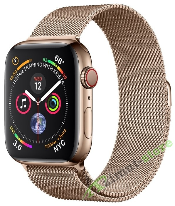 Часы Apple Watch Series 4 GPS + Cellular 44mm Stainless Steel Case with Milanese Loop (Золотистый)