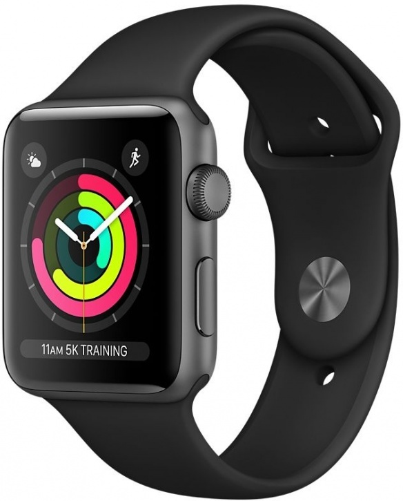 картинка Apple Watch Series 3 42mm Aluminum Case with Sport Band (Space Gray / Black) — умные часы от магазина Azimut-store