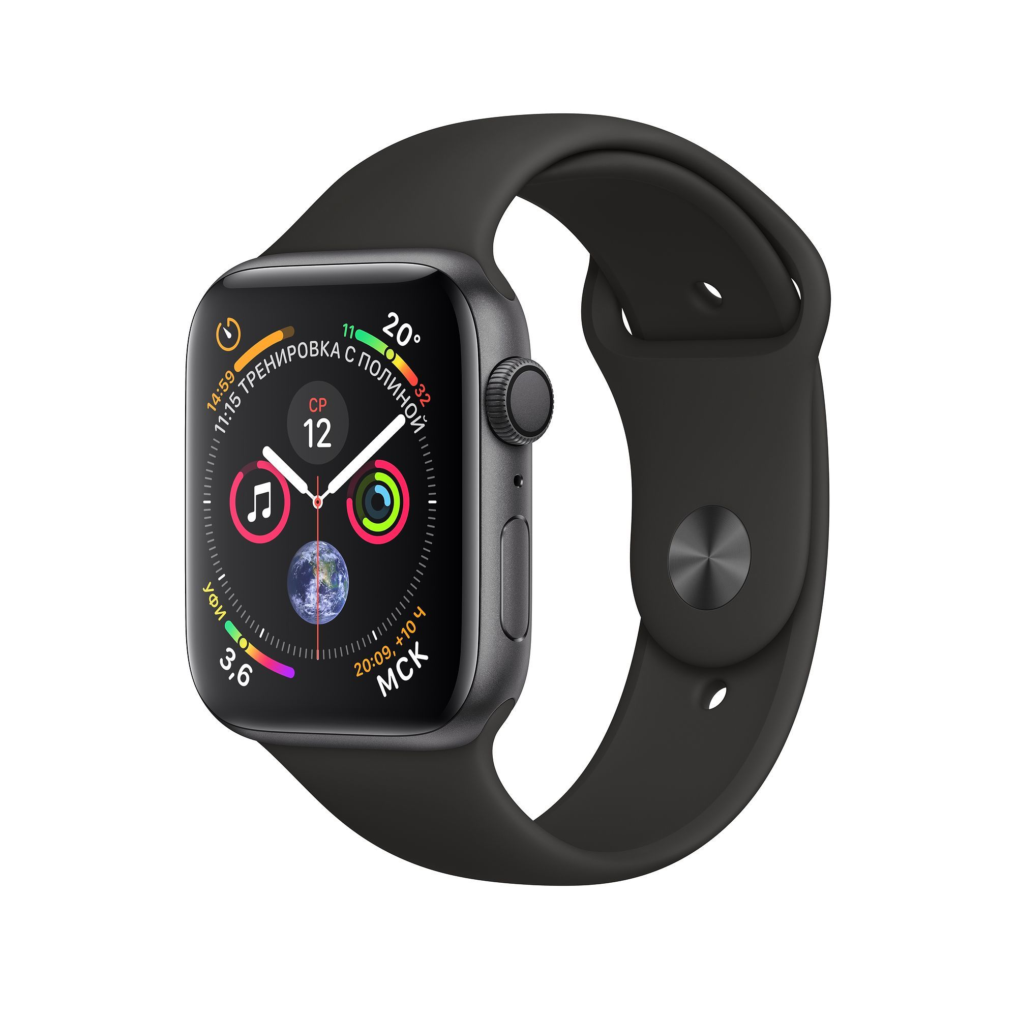 Apple Watch Series 4 GPS 44mm Aluminum Case with Sport Band Серый Космос/Черный