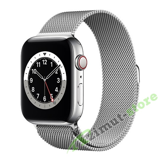 картинка Apple Watch Series 6 GPS + Cellular 44mm Silver Stainless Steel Case with Silver Milanese Loop от магазина Azimut-store