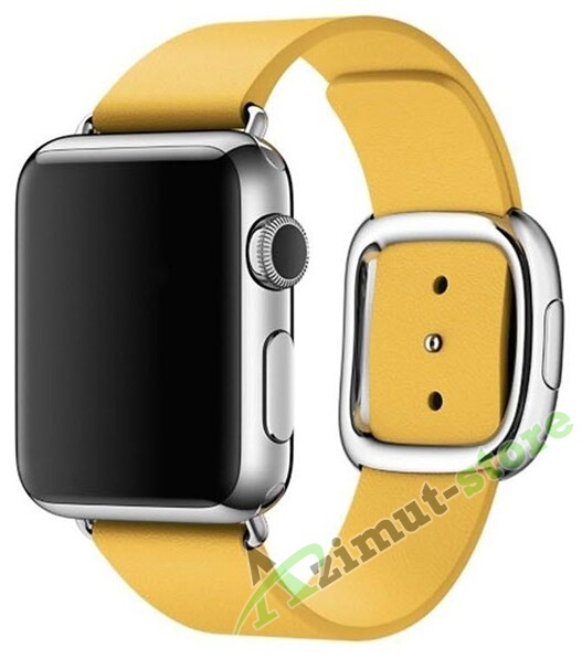 Leather Modern Buckle Yellow (Жёлтый) for Apple Watch (Series 1/2/3/4) 42mm/44mm