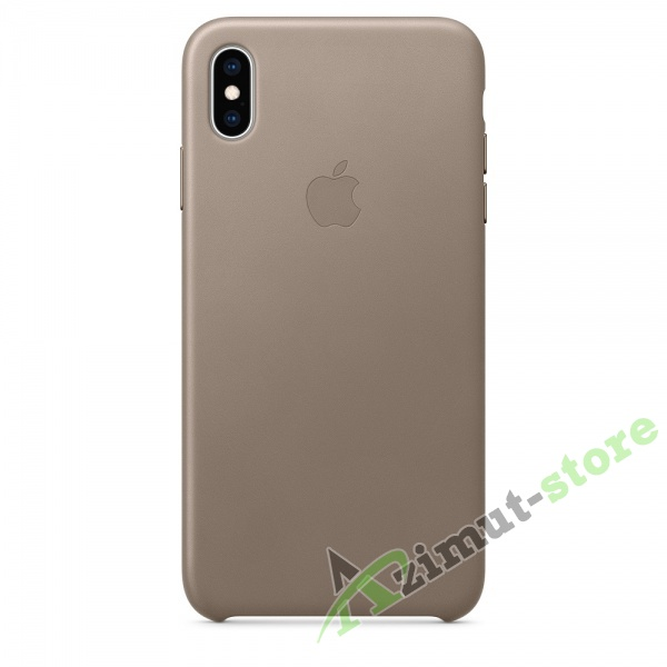 Apple Leather Case iPhone XS MAX Taupe (Платиново-серый)