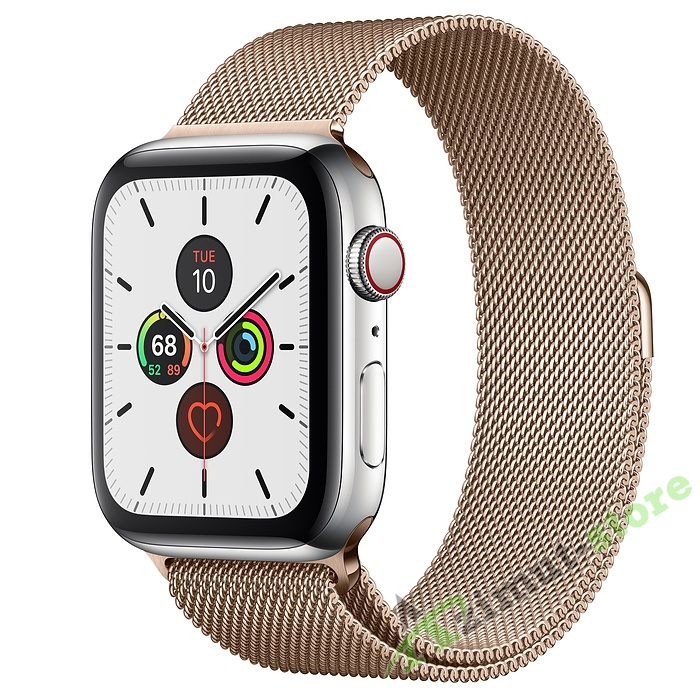 Apple Watch Series 5 GPS + Cellular 44mm Stainless Steel Case with Milanese Loop Серебристый/Золотистый