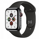 Apple Watch Series 5 GPS + Cellular 44mm Graphite Stainless Steel Case with Black Sport Band