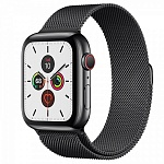 Apple Watch Series 5 GPS + Cellular 44mm Stainless Steel Case with Milanese Loop Черный космос/Черный космос