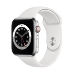 Apple Watch Series 6 GPS + Cellular 44mm Silver Stainless Steel Case with White Sport Band