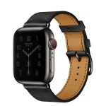 Apple Watch Hermès Series 6 GPS + Cellular 44mm Space Black Stainless Steel Case with Noir Single Tour (MG333)