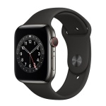 Apple Watch Series 6 GPS + Cellular 44mm Graphite Stainless Steel Case with Black Sport Band